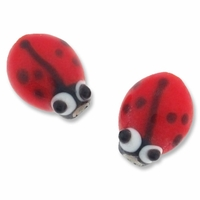 Lady Bug Lampwork Glass Beads (10PK)