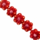 19mm Red Flower Disc Lampwork Glass Beads (5PK)