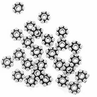 4mm Sterling Silver Daisy Spacer Beads (10PK)