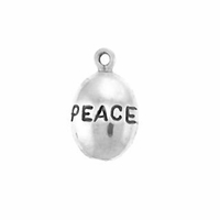 Shiny Peace Drop Sterling Silver Charm