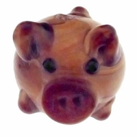 13mm Cute Pig Lampwork Glass Beads (4PK)