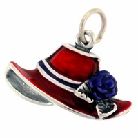 Enameled Red Hat with Purple Ribbon Sterling Silver Charm