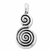 Antiqued Silver 17mm Spiral Charm (10PK)