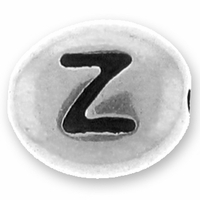 Silver/Rhodium Letter Bead  Z
