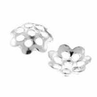 Sterling Silver 6.5mm Flower Bead Caps (10PK)