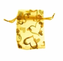 3x4 Inch Gold w/Gold Heart Print Organza Gift Bag