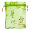 4x6 Inch Green w/Gold Butterfly Print Organza Gift Bag