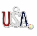 Silver Plated USA with Crystal AB Enameled Charm