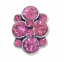 Antiqued Silver Pink Rhinestone 16mm 2 Strand Spacer (1PC)