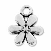 Antiqued Silver Small Daisy Charm (10PK)