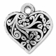 Antiqued Silver 20mm Filigree Puffed Heart Pendant Charm