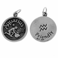 Aquarius Sterling Silver Charm- Jan. 20-Feb. 18
