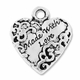 Antiqued Silver Made with Love Heart Charm (5PK)