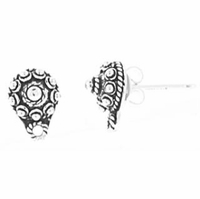 Bali Style Sterling Silver #1 Earring with/ Drop (1PR)