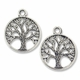 Antiqued Silver Tree of Life in Circle Charm Pendant (10PK)