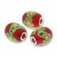 MIOVI™ Lampwork Large Hole Beads w/SP Grommets 21x18mm Red Floral Design (3PK)