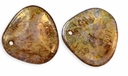 Czech Rose Petals 14/13mm Crystal-Bronze Picasso Glass Beads (25PK)