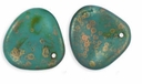 Czech Rose Petals 14/13mm Persian Turquoise-Copper Picasso Glass Beads (25PK)