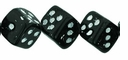 8mm Jet Dice White Inlay (25PK)