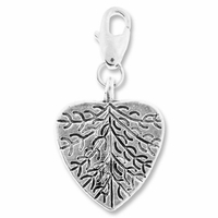 Antiqued Silver 23.5mm Leaf Heart Charms (5PK)