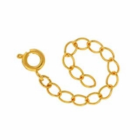 Gold Plated 2 Inch Exention Chain w/Spring Ring (5PK)