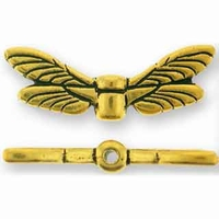 Antique Gold Dragonfly Wings Bead