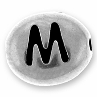 Silver/Rhodium Letter Bead  M