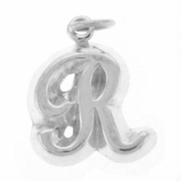 Letter R Sterling Silver Charm