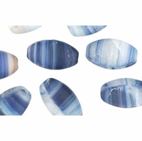 Czech Hurricane Glass Loose Ovals 14/8mm Matte Glaciers (12PK)