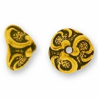 Antique Gold 7mm Lily Bead Cap