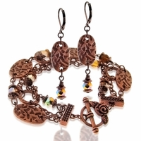 Copper AntiquedThree Strand Bracelet and Earring Design Kit