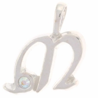 Initial M Sterling Silver Pendant with Crystal