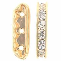 Crystal Rhinestone Bridge 21x6mm Gold (1PC)