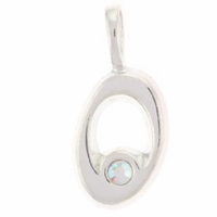 Initial O Sterling Silver Pendant with Crystal