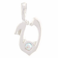 Initial V Sterling Silver Pendant with Crystal