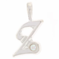 Inital Z Sterling Silver Pendant with Crystal