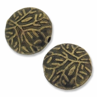 Antiqued Brass 11mm Flat Round Folage Beads (10PK)