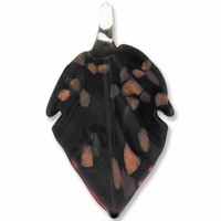 Murano Lampwork Glass 60mm Black Leaf Pendant (1PC)
