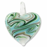 Murano Lampwork Glass  42mm Goldsand Blue Green Swirl Heart Pendant (1PC)