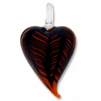 Murano Lampwork Glass Black & Orange Heart Pendant (1PC)