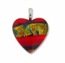 Dichroic Glass 25mm Orange Fire Heart Pendant (1PC)