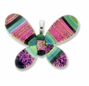 Dichroic Glass 45mm Pink Fire Butterfly Pendant (1PC)