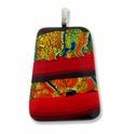 Dichroic Glass 40mm Orange Fire Trapezoid Pendant (1PC)