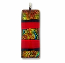 Dichroic Glass 41mm Orange Fire Rectangle Pendant (1PC)