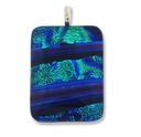 Dichroic Glass 40mm Blue Fire Rectangle Pendant (1PC)