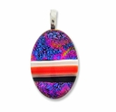 Dichroic Glass 30mm Multi-Color Fire Oval Pendant (1PC)