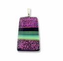 Dichroic Glass 30mm Pink Fire Trapezoid Pendant (1PC)