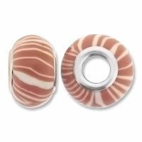 MIOVI™ Polymer Clay Beads w/Silver Plated Grommet,14x9mm Lt Brown Stripe White Design Rondelle Beads (6PK)