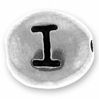 Silver/Rhodium Letter Bead  I