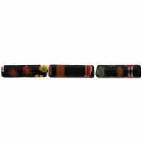 Black Puffed Tube 4x13mm Millefiori Beads (1 Strand)